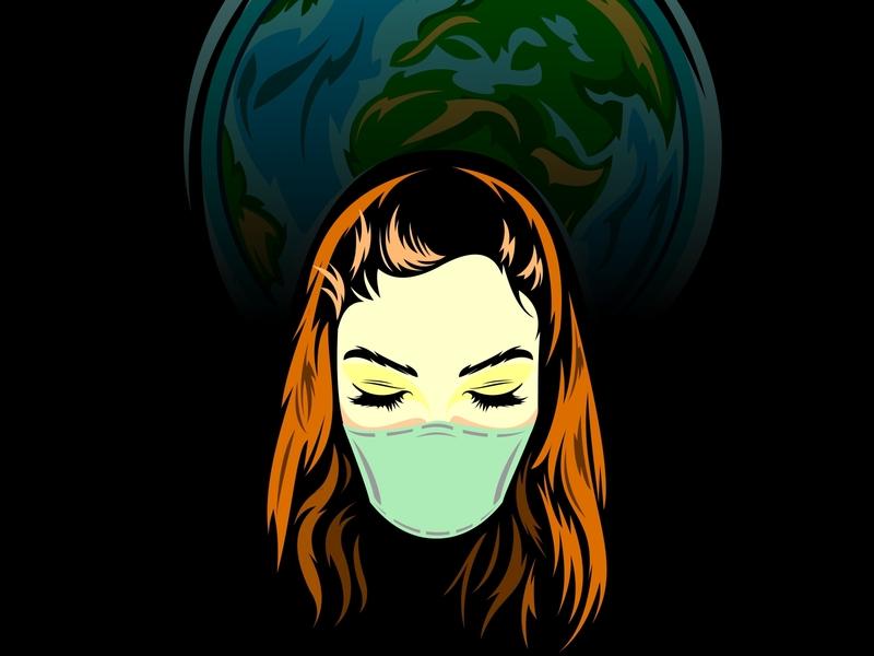 earth sad girl flu fever female fashion epidemic earth disease design dangerous covid19 coronavirus corona virus corona concept china virus biohazard beauty background 2019-ncov