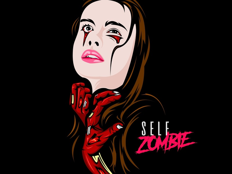 self zombie scary scarry scream devil ghost popart pop style mode sweet sad face girlface girl zombie