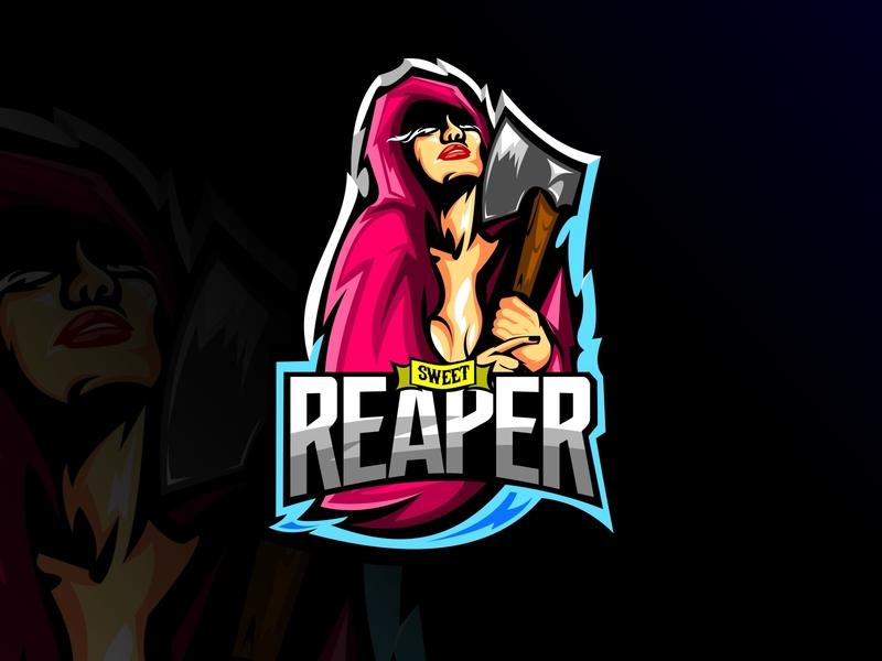sweet reaper icon skeleton graphic game death mascot reaper head character design team face sport skull emblem symbol logo vector gaming illustration