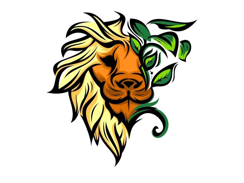 lion head and leaf design black luxury royal symbol africa king lion animal head mammal cat vector zoo wildlife art nature predator illustration wild