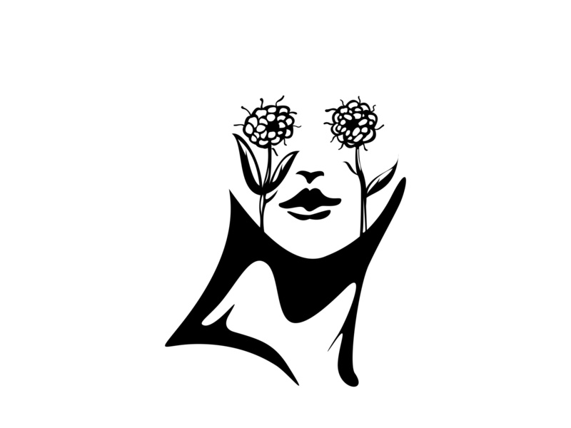 women flower person bearded icon design black hipster isolated mustache head hair drawing vector portrait people hairstyle face illustration style male fashion