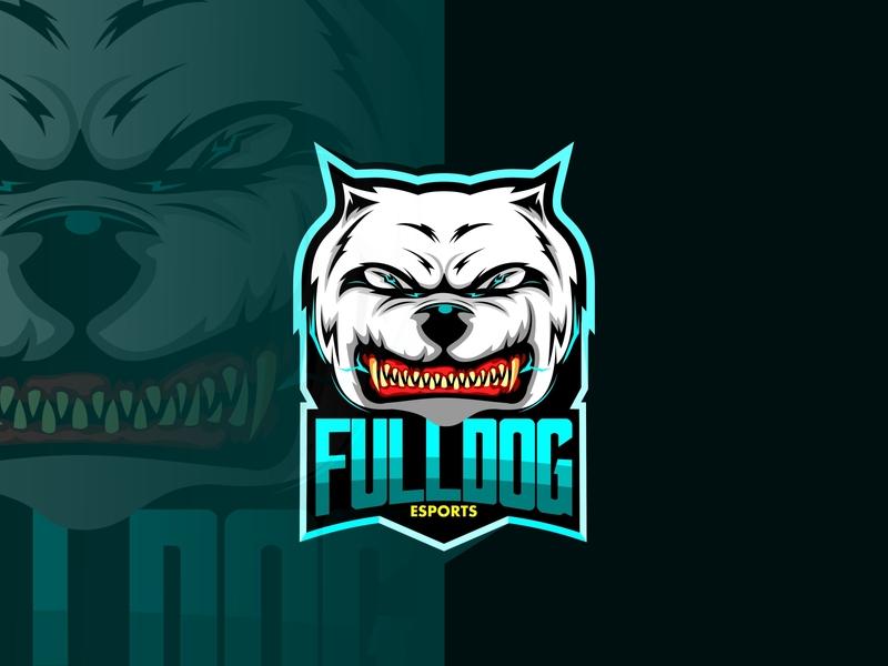 fulldog esports store organization team head face school teeth sport symbol guard icon character angry breed cartoon mascot animal illustration vector dog