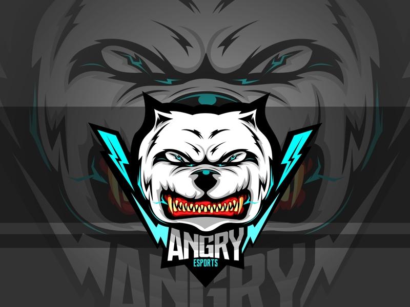 angry esports store organization team head face school teeth sport symbol guard icon character angry breed cartoon mascot animal illustration vector dog