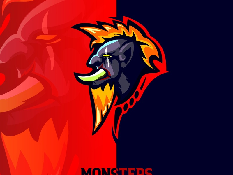 monsters face tattoo evil sign template green symbol mascot icon head character design logo vector emblem art cartoon monster illustration sport