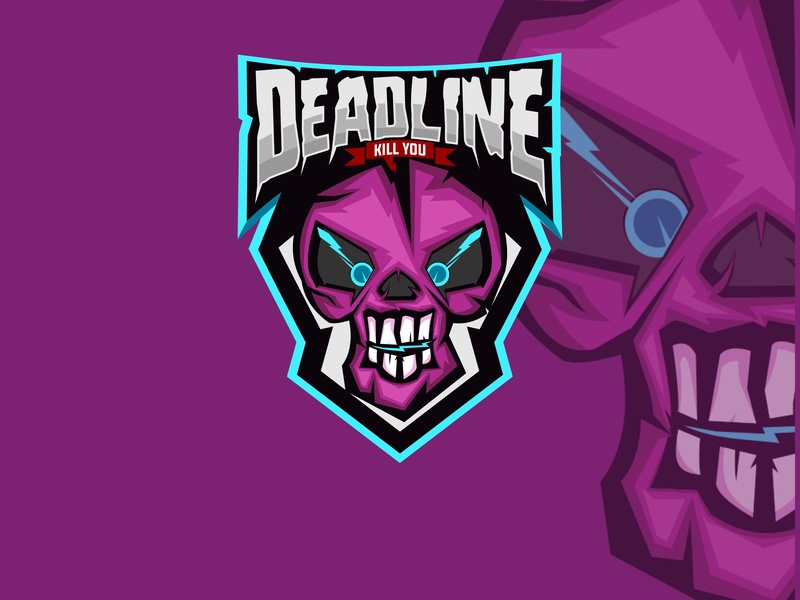 Deadline graphic art head logo team sport mascot label illustration death symbol skull vector design emblem black gaming vintage badge game