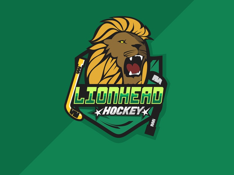Lionhead team tipografi simbol desain hewan vektor logo mascot hockeyteam sport hockey team lionhead lion logo
