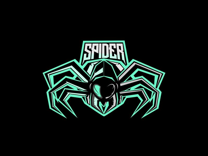 Spider club attack web venom poison power logo vector brand team illustration sport wild symbol design element animal strong head mascot