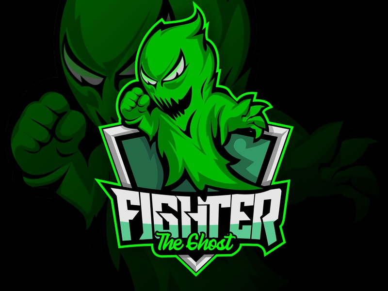 The Ghost Green Team modern mascots man power fun drawing wraith avatar digital social karate logos graphic character style monster game fighter ghost vector