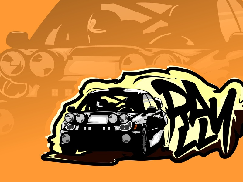 Rally hotrod hot hand drawn graphic fast extreme travel extreme drive dirt design clipart championship cartoon car background automobile auto art advertising 4x4