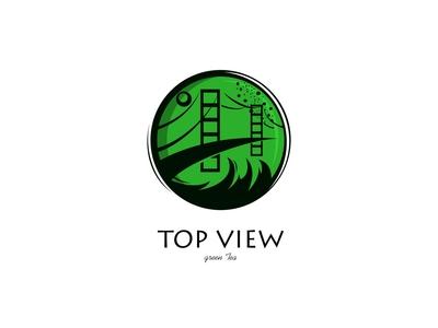 top view green tea
