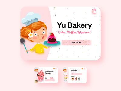 Yu Bakery: A homemade bakery product shopping muffin hungry happy food delicious food delicious cute cake shop cakery cake bakery ui adobe xd design