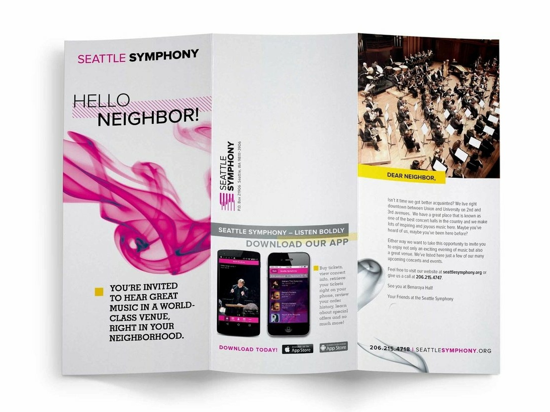 Seattle Symphony Brochure non profit typography design editorial design music art print design brochure design