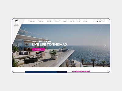 W Residences Website flat dubai properties real estate interface uiux daily ui dailyui daily typography designinspirations website clean ux web design web branding minimal design ui