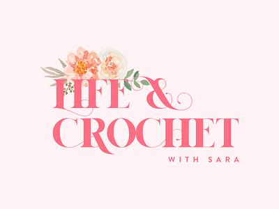 Life & Crochet with Sara logo design identity brand identity branding design knitting crochet rose french rose floral vector icon logo illustration typography designinspirations clean branding minimal design