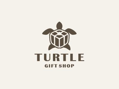 Turtle Gift Shop shell logo animal present box gift turtle