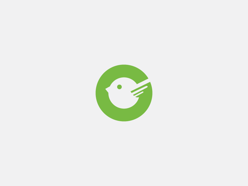 Green Bird icon letter g negativespace logo bird green