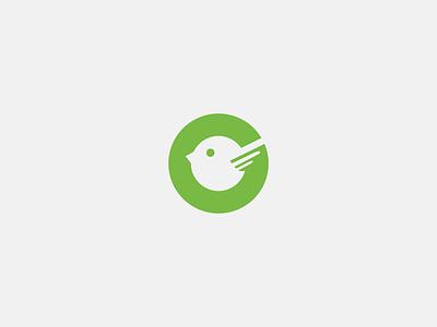 Green Bird icon letter g negativespace logo bird green