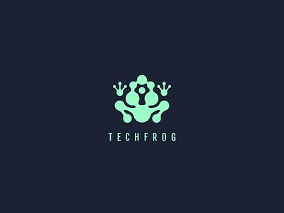 Tech Frog Logo logo tech circuits abstract animal frog data technology