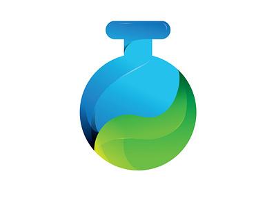 Bottle Grean Leaf 3d logogram green logo leaf modern logo gradient bottle laboratory symbol logo design logo design