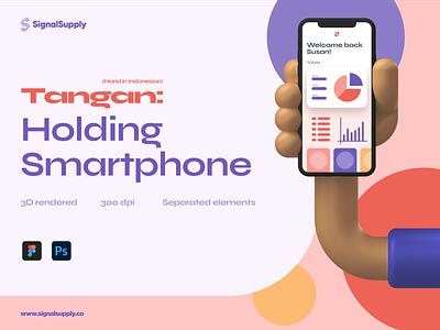 Tangan: Holding Smartphone photoshop figma psd showcase smartphone 3d hand