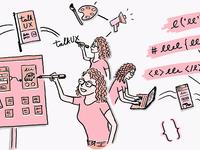 Ladies that UX: Katie Langerman – Adobe Blog Illustration