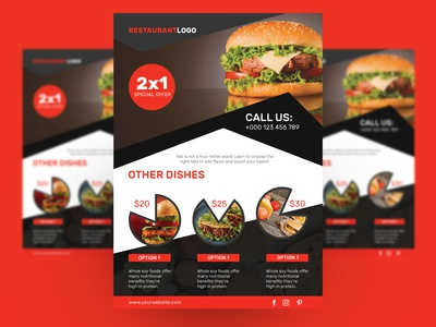 Free Restaurant Food Flyer With PSD Mockup