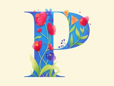 P Flower illustration floral flower p