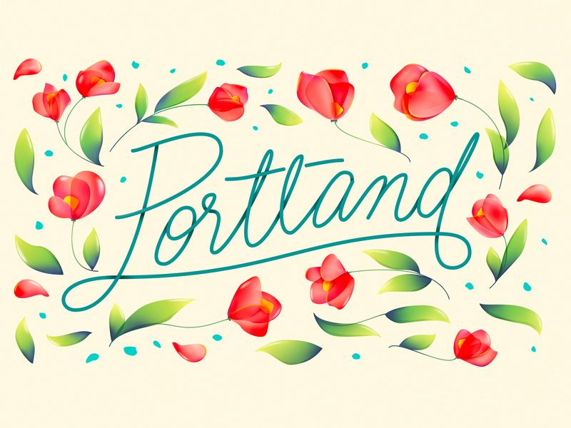 Portland Rose city rose city rosecity flower rose type handwrite lettering usa ripcity oregon pdx portland