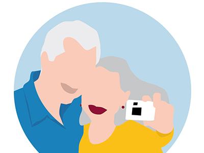 Older Couple lllustrator commercial