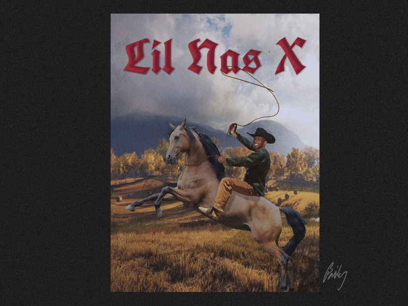 Lil Nas X cowboys horse graphicdesign swiss posters swiss poster poster rapper panini old town road lil nas x