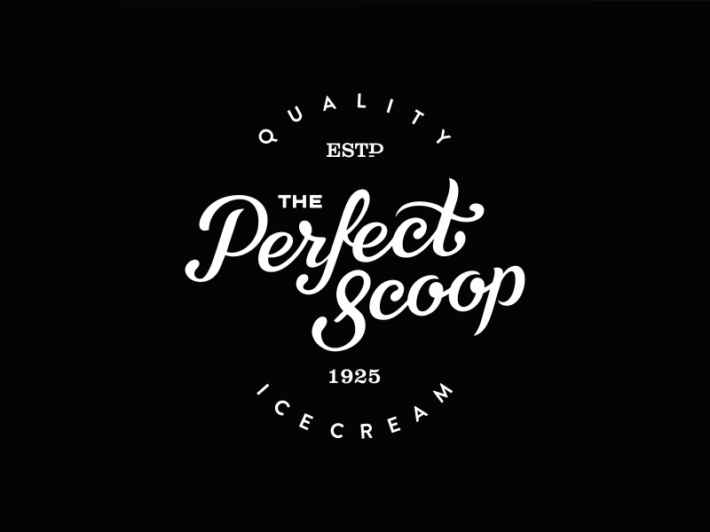 The Perfect Scoop logo logotype ice cream ice candy sweet vintage lettering letter hand drawn typography typo brand