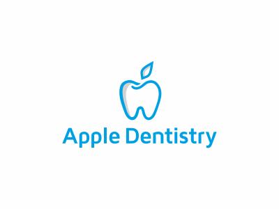 Apple dentistry apple teeth tooth dentistry dentist logo brand brand identity fruit siti rokas rokis lithuania stomatology blue medicine medic simple