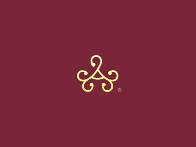 Altera jewelry brand altera logo logotype ornamnet royal red gold a logo mark