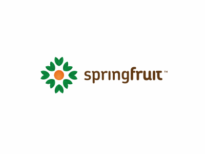 Springfruit fruit spring idea leaf orange apple summer logo identity marketing agency brand green eco