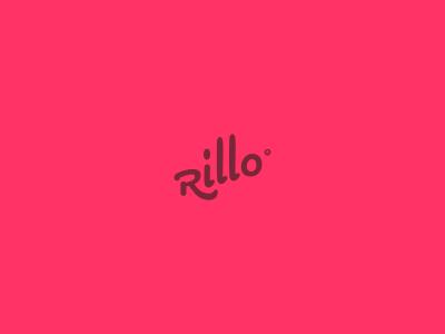 Rillo logo wormark logotype word red r rokis simple round type typography typo word logotype lithuania
