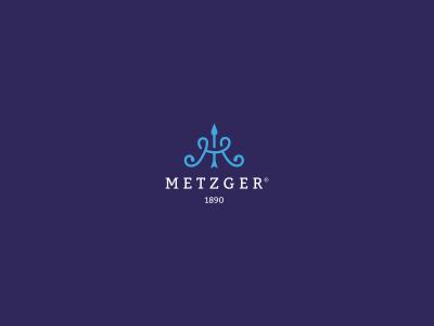 Metzger m letter monogram bow arrow weapon royal hunt metz letter m blue king old