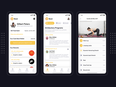 Boost Mobile App Design gym android app ios app video fitness fitness strength introductory cardio boost app boost app design app branding mobile app design ux ui mockup app design agency design agilelarks