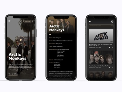 Arctic Monkeys Music App music app ui mobile app design mobile app music player music app arctic monkeys ui ui design website concept design application design adobexd uiux uidesign adobe xd