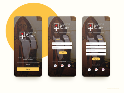 Jehangir Art Gallery Mobile App sign up log in onboarding ui art gallery museum app museum of art application ui ui design design ui mobile app design website concept application design uidesign uiux adobe xd