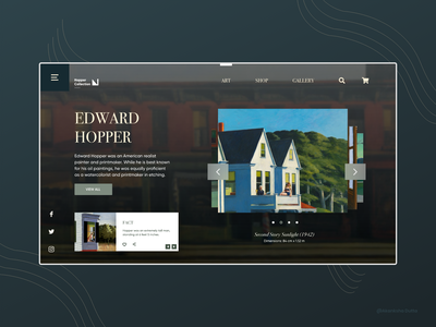 Edward Hopper Paintings Website painting edward hopper webdesign graphic design website museums museum of art web design art gallery website design design uiux conceptual ui design uidesign ui website concept application design adobe xd