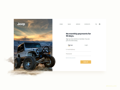 Jeep Signup Page user interface design web ui  ux design signupform website login page signup page jeep web design webdesign website design adobexd website concept uidesign ui ui design conceptual uiux adobe xd