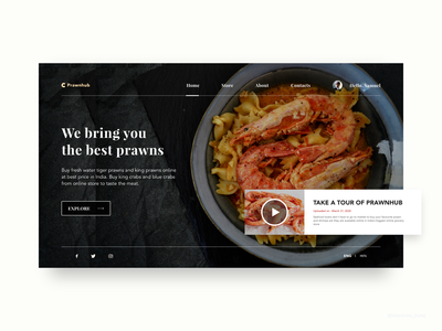 Prawnhub - Buy Prawns Online designer site design desktop ui design conceptual website design web design user interface design uiux design website concept uidesign adobe xd