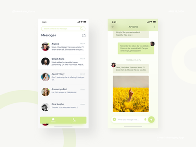 Message and Call App - UI Design concept ui ux figma design conceptual ui user interface design messaging app uiux ui design call app message app chat app figma