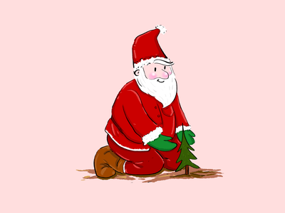 Santa Claus plants a Christmas Tree folioart popular ui design digital illustration santa claus strategy illustration design illustrations illustration art