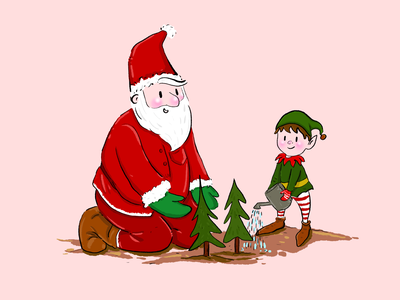 Santa and his elves plant more trees! elves santa claus popular illustration art illustrate illustrations