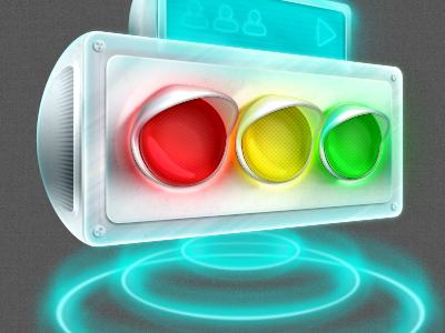 Traffic control illustration future space light traffic glow