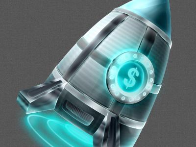 High cash rocket cash illustration steel glow rocket