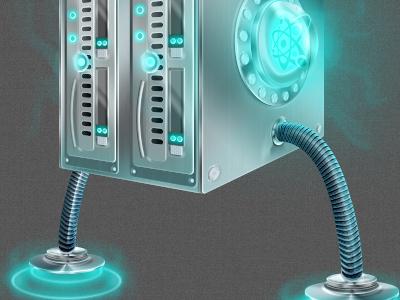 Supa Server server rack glow steel illustration nuclear futuristic