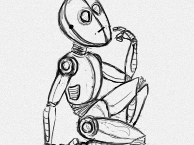 Thinking (sketch) robot android metal steel sketch
