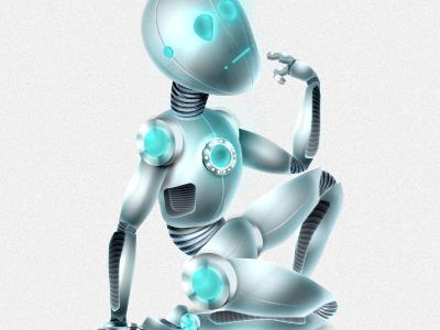 Thinking robot steel android robot glow metal iron illustration